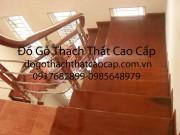 Cầu thang inox tay vin gỗ tròn đẹp M3