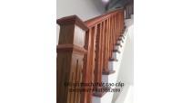 Cầu Thang gỗ lim song tiện vuông đẹp CTSTV06