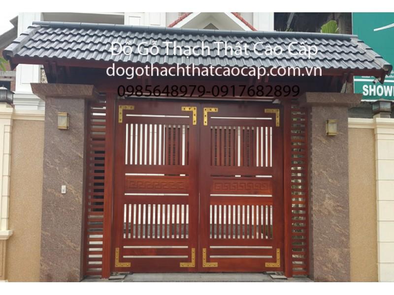cổng gỗ đẹp mẫu cổng gỗ hiện đại phong cách đẹp M9 | Đồ Gỗ Thạch Thất Cao Cấp cổng gỗ đẹp