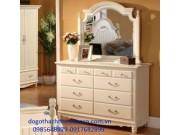 bàn trang điểm gỗ dổi sơn trắng sứ BTD08