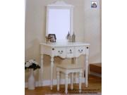 bàn trang điểm gỗ hương nam phi sơn trắng BTD11