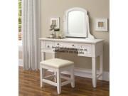 bàn trang điểm gỗ gụ sơn trắng  BTD12