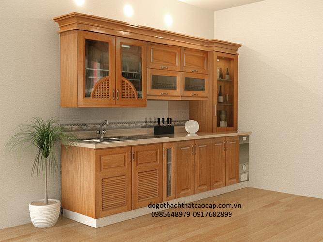 Tủ bếp gỗ sồi nga đẹp TB25