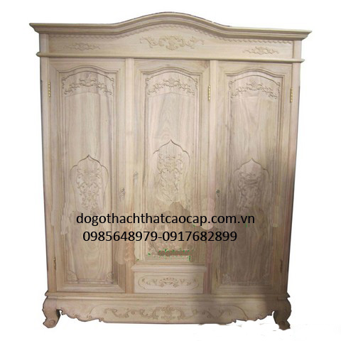 Tủ áo gỗ gụ để mộc chưa sơn